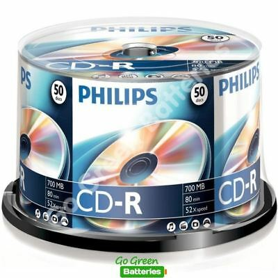 50 X Philips CD-R Blank Recordable Discs 80 Mins 700MB 52x Speed Spindle Pack • 11.89£