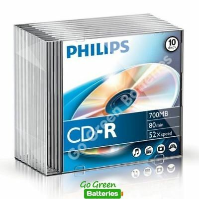 10 X Philips CD-R Blank Recordable Discs 80 Mins 700MB 52x Speed Slim Cases • 7.89£