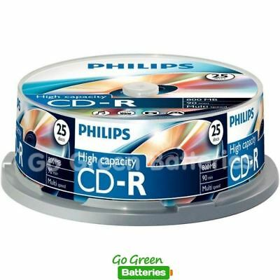 25 X Philips CD-R Blank Recordable Discs 90 Mins 800MB 40x Speed High Capacity  • 8.79£