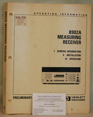 HP8902A Measuring Receiver Operating Information • 35£