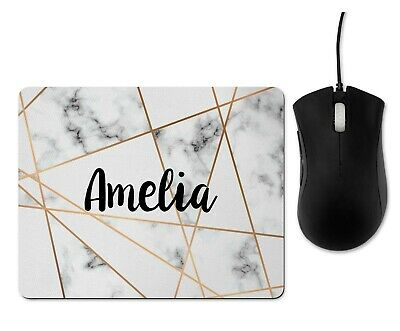 Personalised Marble & Gold Geometric Initial Mouse Mat, Mouse Pad, Rubber, Gift  • 6.50£