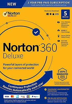 Norton 360 Deluxe 2020 5 Devices 5 PC 1 Year Secure VPN Internet Security 2020  • 17.55£