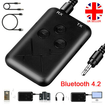 Wireless Bluetooth Transmitter Receiver 2 In 1 Stereo AUX Audio Music Adapter UK • 5.60£