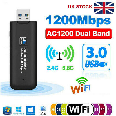 1200Mbps USB 3.0 Wireless WiFi Network Receiver Adapter 5GHz Dual Band Dongle • 9.99£