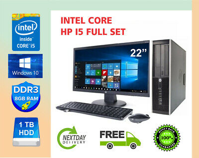 FAST PC COMPUTER DESKTOP SET HP CORE I5 8GB RAM 1TB HDD WIN 10 22  MONITOR WIF • 158.99£