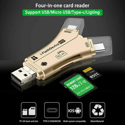 4 In1 I-Flash USB 2.0 SD TF Memory Card Adapter Reader Drive For Android IPhone • 6.99£