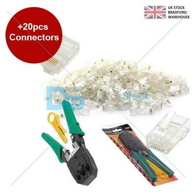 RJ45 Cat5e Cat6 Network LAN Ethernet Cable Crimping Crimper Tool +20 Connectors • 3.49£