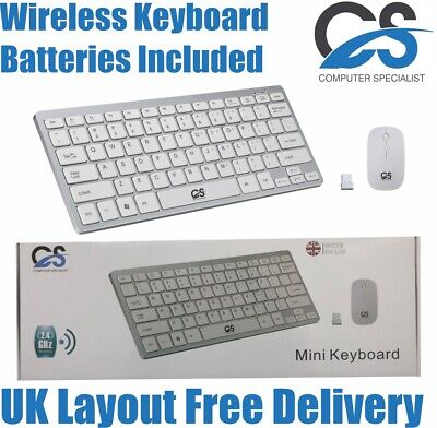 MINI WIRELESS 2.4GHZ WHITE KEYBOARD AND MOUSE COMBO FOR APPLE IMAC MACBOOK PRO • 14.99£