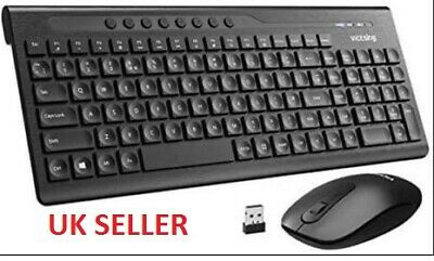 Wireless Keyboard & Mouse For Laptop PC Mac UK Layout Combo Slim Quite.. • 18.60£