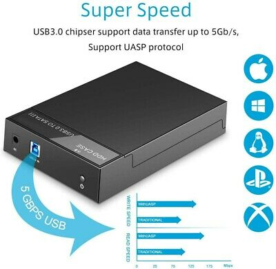 USB 3.0 2.5 /3.5  Hard Drive Enclosure SATA HDD / SSD Caddy Case For PC Laptop • 17.89£