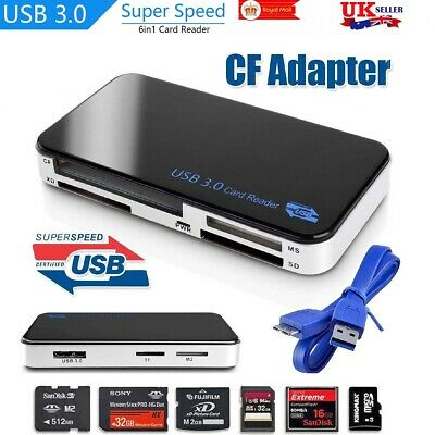 USB 3.0 All In 1 Compact Computer Adapter Card Reader Tablet Flash Memory For CF • 10.29£