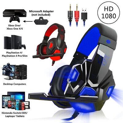 3.5mm Gaming Headset MIC LED Headphones For PC Laptop PS4 Pro Xbox One S 360 UK • 9.99£