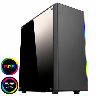 CIT RGB LED Midi ATX Gaming PC Computer Case USB 3.0 Clear Panel Spectum Strip • 28.99£