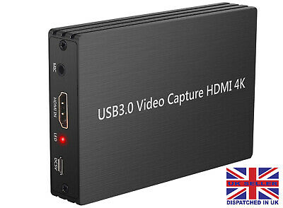 1080P HD 4K 60HZ USB 3.0 HDMI Capture Card Game Converter Mic In Twitch For PS4 • 29.99£
