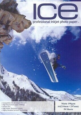ICE A4 190gsm Professional Inkjet Matte Coated Photo Paper 50 Sheets • 4.99£