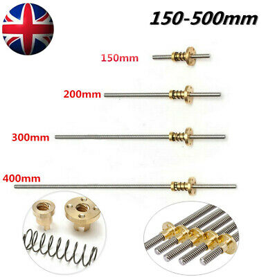 8mm Threaded Rod Trapezoidal Lead Screw T8 Nut For 3D Printer Stepper 100mm+ UK • 10.25£