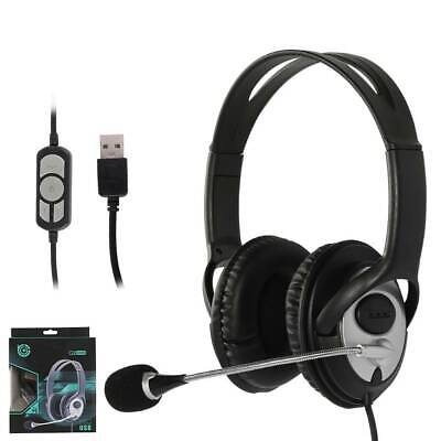 USB Headset With Microphone Headphone Mic Wired Stereo For Desktop PC Laptops • 13.89£
