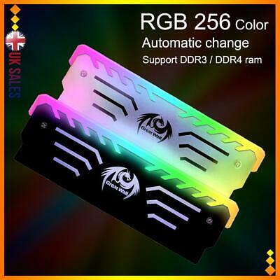 RGB Memory Ram Cooler Fin Radiator Vest Black Light Portable Heatsink Computer • 10.94£