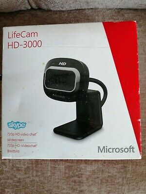 Microsoft LifeCam Hd-3000 720p HD Widescreen Skype Webcam Used Great Condition • 10£
