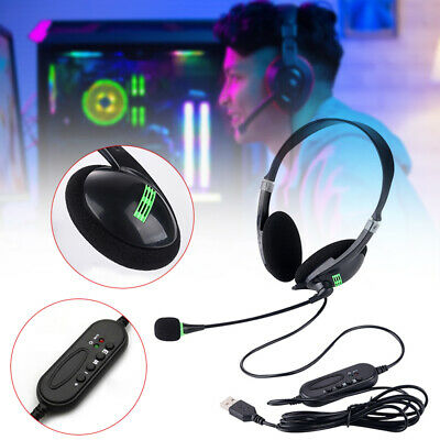USB Headphones With Mic Microphone Noise Cancelling Headset For Computer Laptop • 7.99£