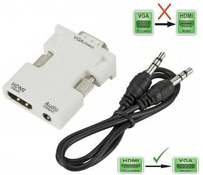 1080P HDMI Female To VGA Male With Audio Output Cable Converter Adapter Lead UK • 6.49£