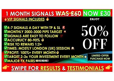 NEW 1 Month VIP Expert Forex Trading Signals - Daily FX Profit- Accuracy 80-90% • 20£