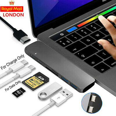 For MacBook Pro USB-C Hub Dual Type-C Multiport Card Reader Adapter 4K HDMI 7in1 • 18.39£