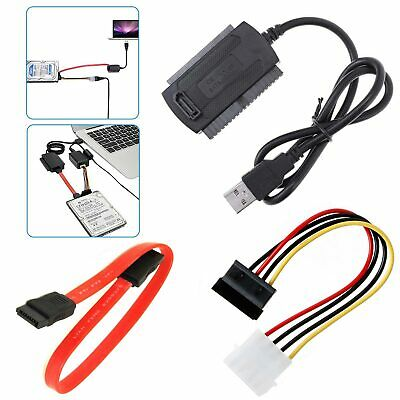 New USB 2.0 To SATA/PATA/IDE Cable Power Cord Adapter For DVD Hard Disk Drive UK • 4.39£