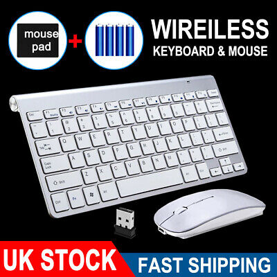 UltraSlim 2.4G Cordless Wireless Keyboard And Mouse Set For PC MAC Laptop Tablet • 13.49£