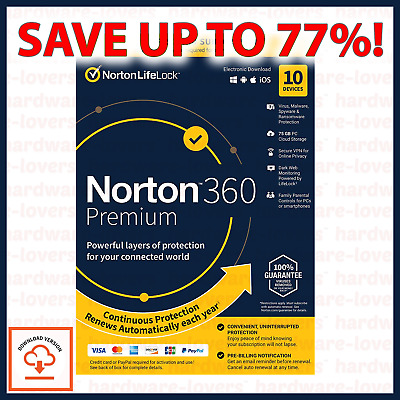 ✅ Norton 360 Premium Deluxe 2020 | 3-10 Devices | 1-2 Year Licence | VPN + More! • 39.97£
