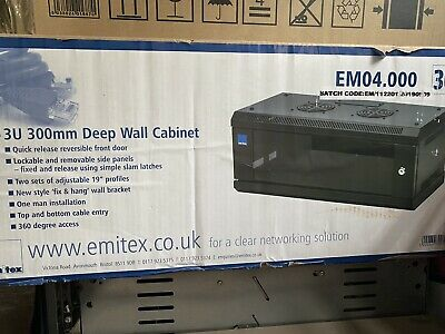 New Emitex Data Cabinet For Rack Mounted Networking Small 3U Wall Mount - 300mm • 20£