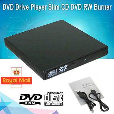 External USB CD DVD Hard Drive CD Player Disc Reader Optical Drive For PC Laptop • 9.99£