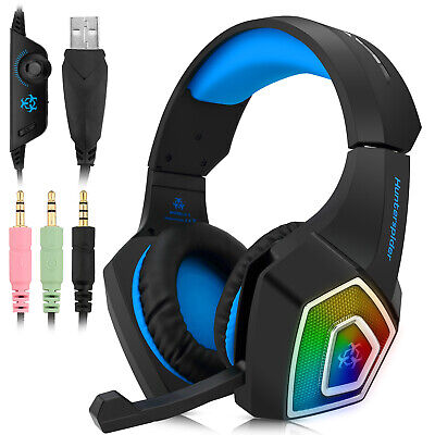 3.5mm Blue LED Gaming Headset Headphones For PC PS4 PS5 Laptop Mac MIC Xbox One • 13.99£