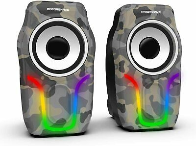 PC Computer Laptop Speakers USB 2.0 Stereo LED 5W High Quality Clear Sound UK HQ • 15.89£