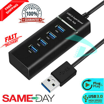 High Speed 4 Port USB HUB 2.0 Multi Splitter Expansion Desktop PC Laptop Adapter • 2.99£