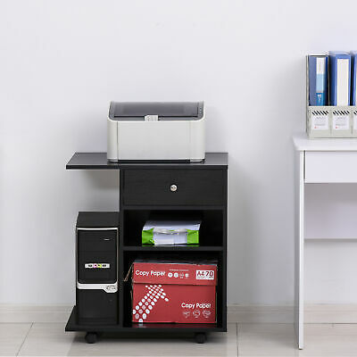 Vinsetto Desk Side Printer Stand With Wheels, Rolling Printer Cart, Black • 46.99£
