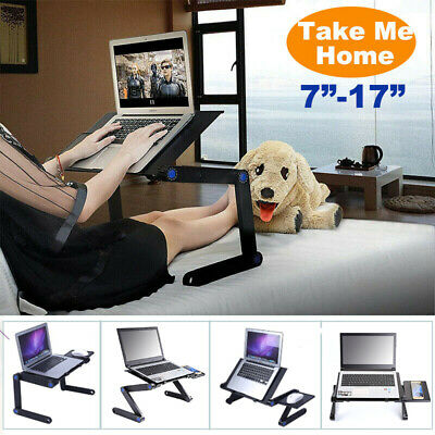 Folding Notebook Desk Adjustable Laptop Table Stand Lap Sofa Bed Tray Computer • 22.99£