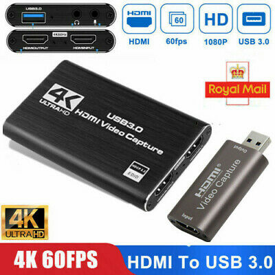 4K HDMI To USB 3.0 Video Capture Card 60Fps For XBOX PS4 MAC Live Streaming UK • 30.99£