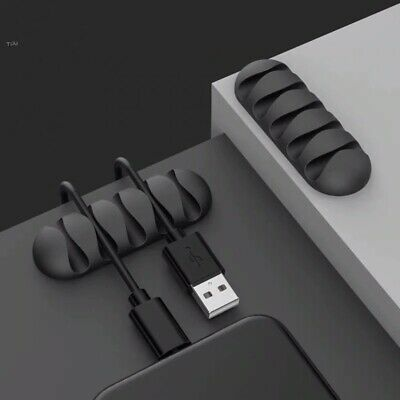 1 Black Desk Table Extra Cable Wire Tidy Clips Organizer Holder Lead Fixing Ties • 1.99£