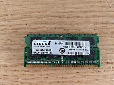 Crucial 8GB PC3 DDR3 1600 SODIMM - CT102464BF160B • 25£