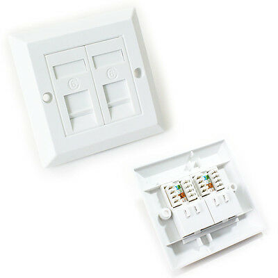 Double Port CAT6 IDC Wall Outlet Face Plate - 2 Way RJ45 Network Ethernet Socket • 5.99£