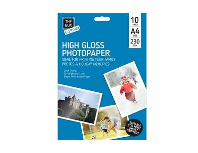 10 Sheets A4 Heavy 230 Gsm Digital Photo Paper High Gloss Glossy Inkjet Printer • 2.29£