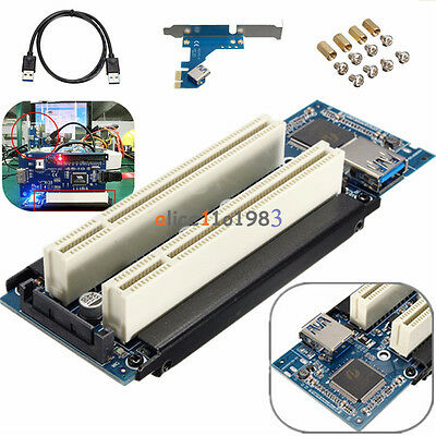 PCI-E Express X1 To Dual PCI Riser Extend Adapter Card With USB 3.0 Cable • 12.88£