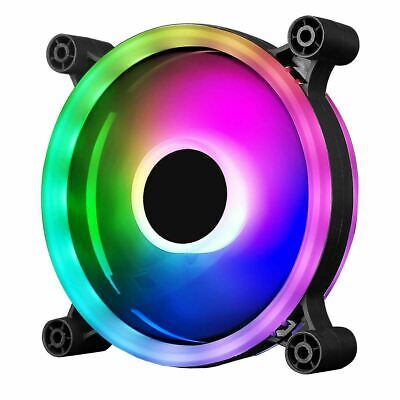 CIT Raider Dual-Ring 16 LED 120mm Rainbow RGB Silent PC Cooling Case Fan 5-Pin • 12.50£