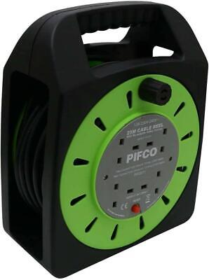 NEW PIFCO 4 Way 25 Metre Long Cable Extension Reel Lead Mains Socket Heavy Duty • 23.99£