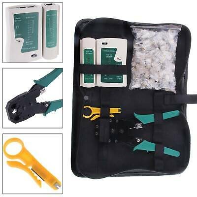 NEW RJ45 Cat5e Ethernet Network Tools Tester Crimper Stripper Cable Teste • 9.99£