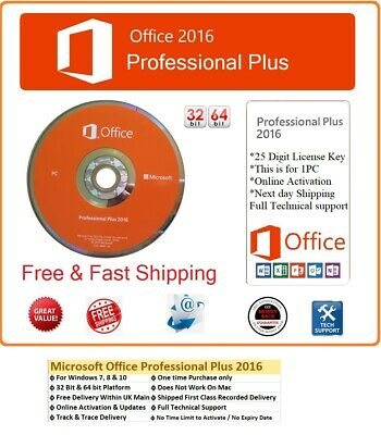 Microsoft Office Pro 2016 Professional Plus License Key & Genuine Install DVD • 26.99£