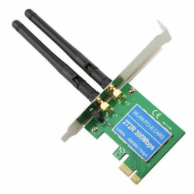 300Mbps Wireless 11N WiFi PCI-E Network Adapter LAN Card Dual Antenna For PC • 8.54£