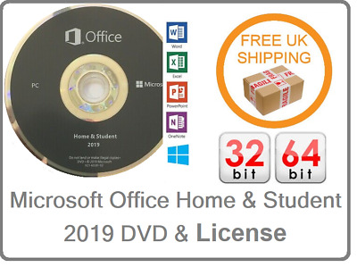 New Microsoft Office Home And Student 2019 Key Card & DVD 1PC 32 & 64 Bit • 34.99£