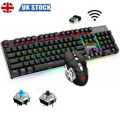 UK Wireless Mechanical Rechargable Keyboard And Mouse Combo LED Backlit For PS4 • 38.99£
